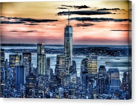 Center Glow Canvas Print - New York - Manhattan Landscape by Marianna Mills