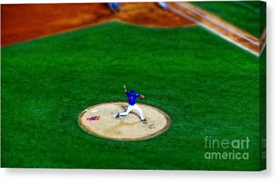 Citi Field Canvas Print - New York Mets Pitcher Abstract by Nishanth Gopinathan