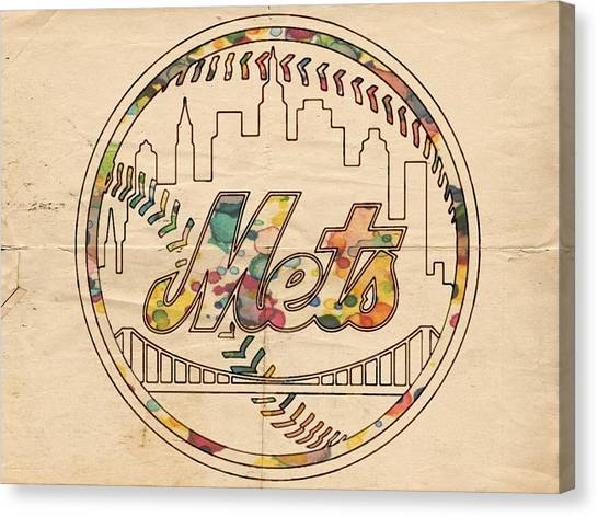 New York Mets Canvas Print - New York Mets Poster Vintage by Florian Rodarte