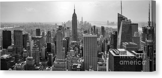 Empire State Building Canvas Print - New York Moody Skyline  by Az Jackson