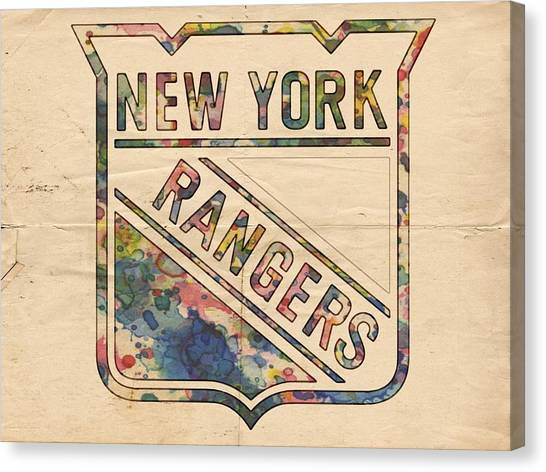 New York Rangers Canvas Print - New York Rangers Hockey Poster by Florian Rodarte