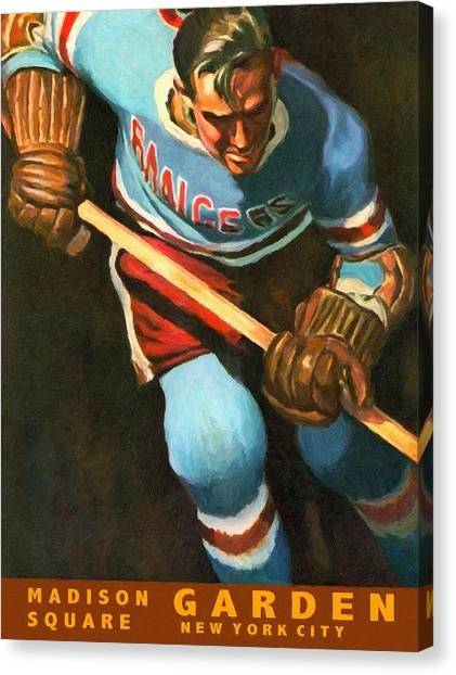 New York Rangers Canvas Print - New York Rangers Vintage Poster by John Farr