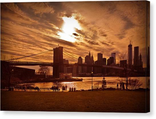 New York Skyline And Brooklyn Bridge -- Late Afternoon Canvas Print