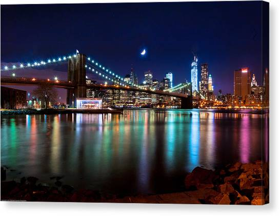 New York Skyline And Brooklyn Bridge With Crescent Moon Rising Canvas Print