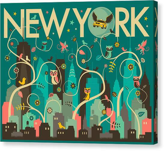 Owls Canvas Print - New York Skyline by Jazzberry Blue