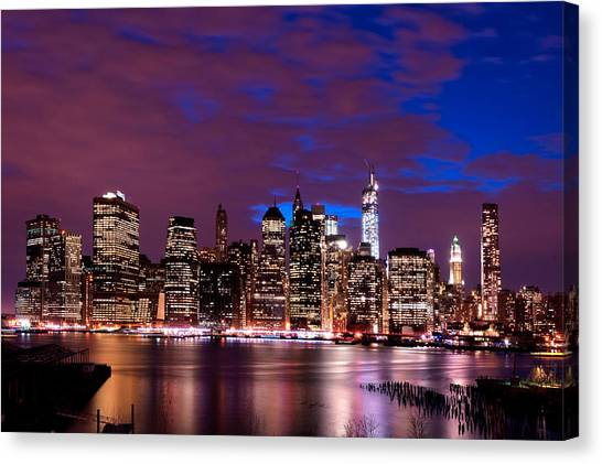 New York Skyline Magic Hour-- From Brooklyn Heights Promenade Canvas Print