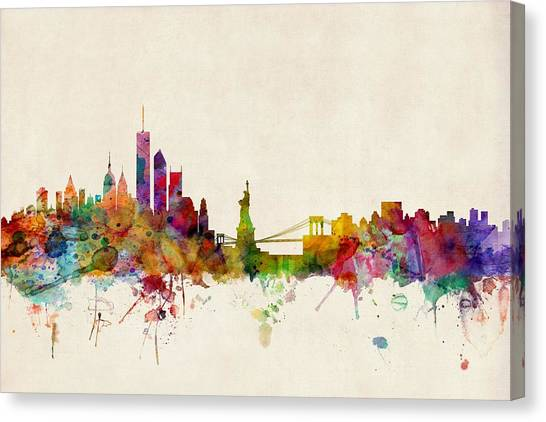 Apple Canvas Print - New York Skyline by Michael Tompsett