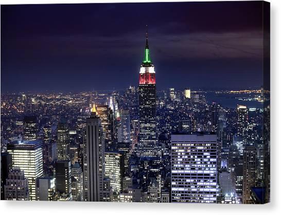 New York Skyline Night Color Canvas Print