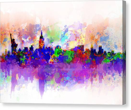 Manhattan Skyline Canvas Print - New York Skyline Splats 3 by Bekim M
