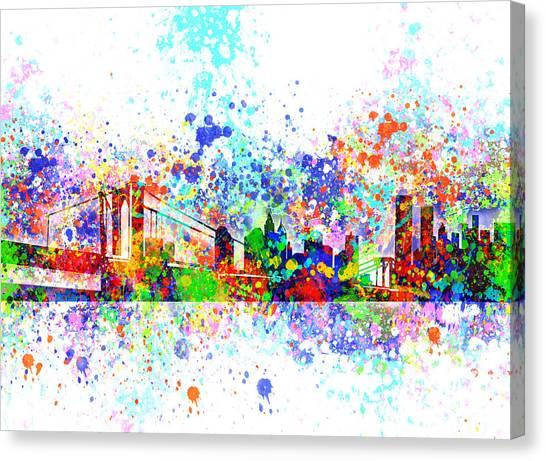 Manhattan Skyline Canvas Print - New York Skyline Splats by Bekim M