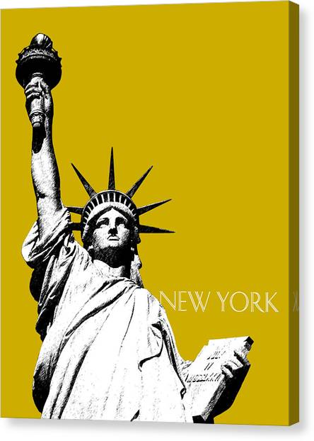 Modern Architecture Canvas Print - New York Skyline Statue Of Liberty - Gold by DB Artist