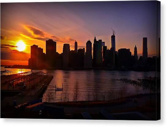 New York Skyline Sunset -- From Brooklyn Heights Promenade Canvas Print