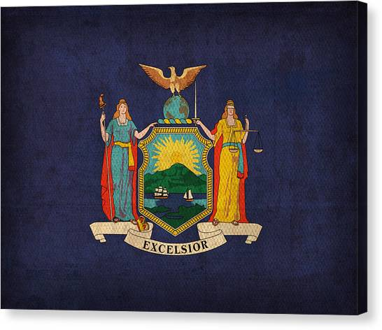 Syracuse University Canvas Print - New York State Flag Art On Worn Canvas by Design Turnpike