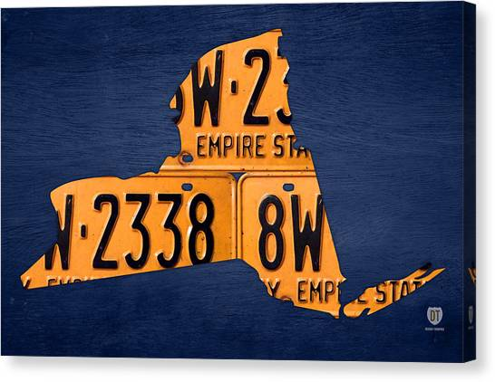 Empire Canvas Print - New York State License Plate Map by Design Turnpike