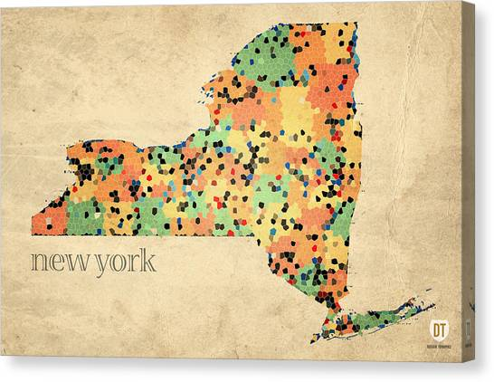 Empire Canvas Print - New York State Map Crystalized Counties On Worn Canvas By Design Turnpike by Design Turnpike