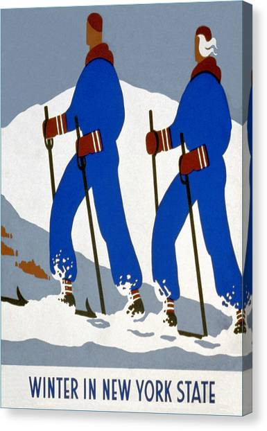 New York State Skiing Poster Canvas Print by Charlie Ross