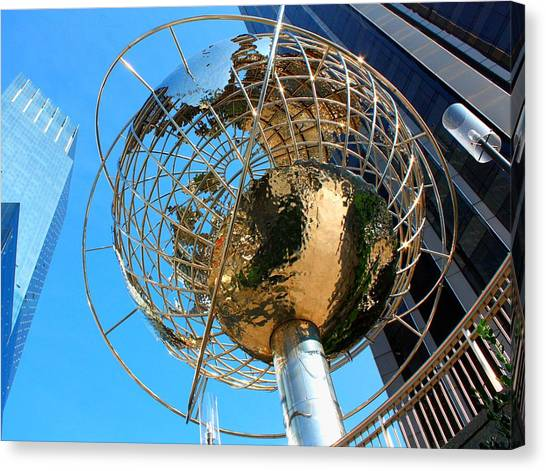 Warner Park Canvas Print - New York Steel Globe by Jenny Hudson
