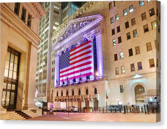 New York Stock Exchange At Night Canvas Print