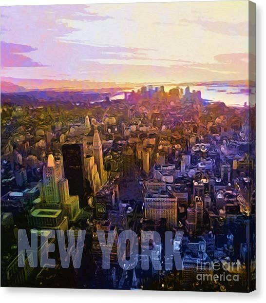 New York Sunset Canvas Print by Lutz Baar