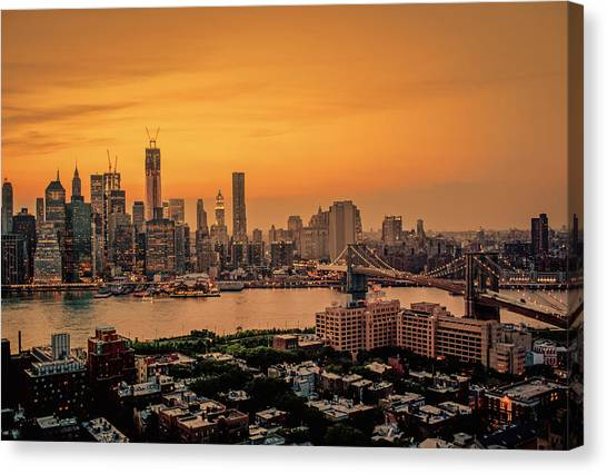 City Sunsets Canvas Print - New York Sunset - Skylines Of Manhattan And Brooklyn by Vivienne Gucwa