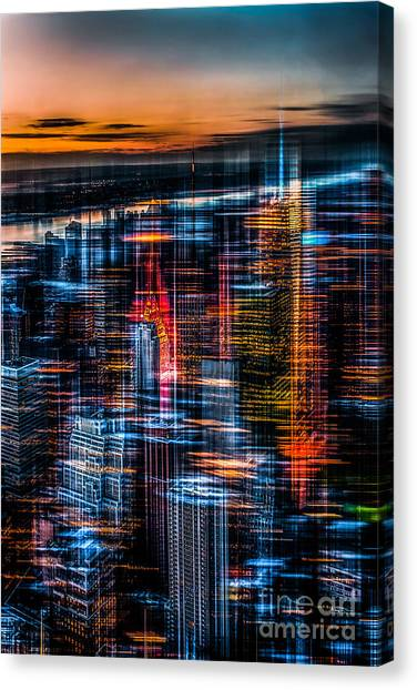 New York- The Night Awakes - Orange Canvas Print