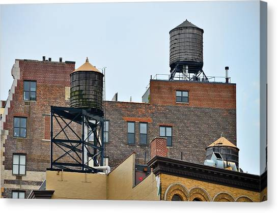 Precisionism Canvas Print - New York Three Water Towers by Steven Richman