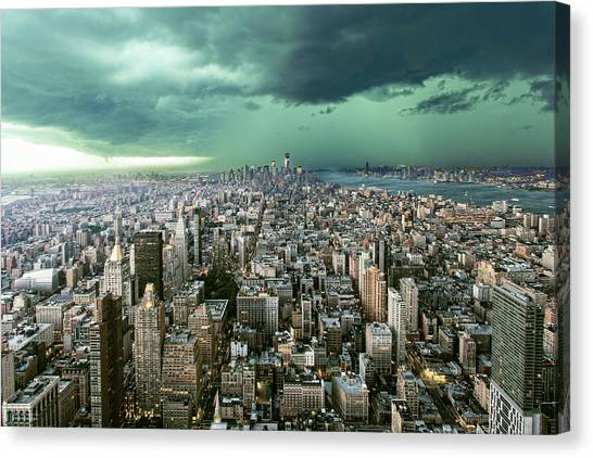 New-york Under Storm Canvas Print by Pagniez