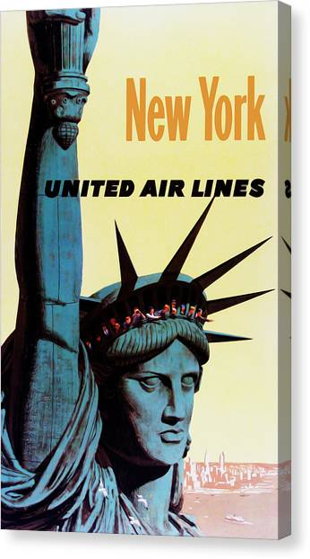 New York City Canvas Print - New York United Airlines by Mark Rogan
