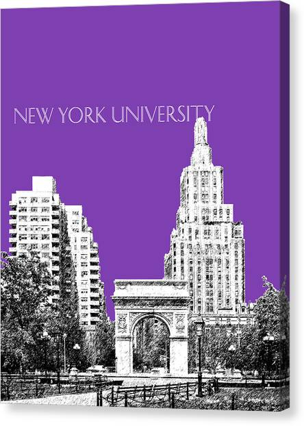 Colleges And Universities Canvas Print - New York University - Washington Square Park - Purple by DB Artist