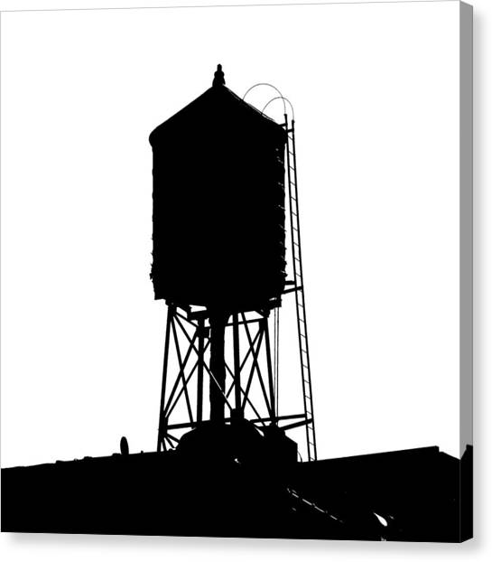 New York Water Tower 17 - Silhouette - Urban Icon Canvas Print