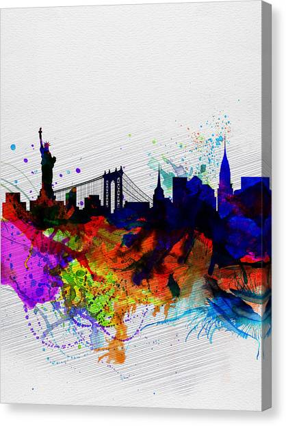 New York Skyline Canvas Print - New York  Watercolor Skyline 1 by Naxart Studio