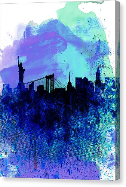 New York Skyline Canvas Print - New York  Watercolor Skyline 2 by Naxart Studio