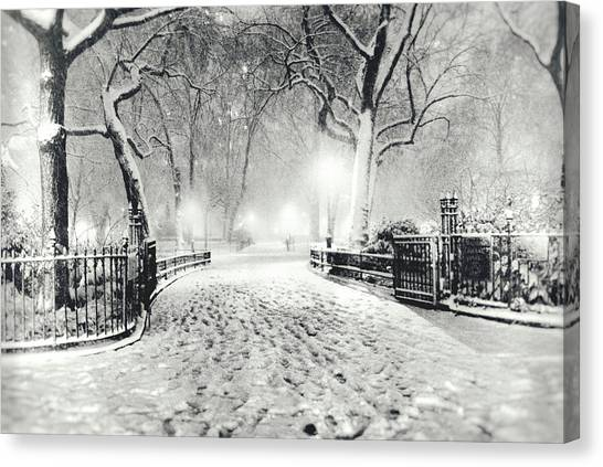 Manhattan At Night Canvas Print - New York Winter Landscape - Madison Square Park Snow by Vivienne Gucwa