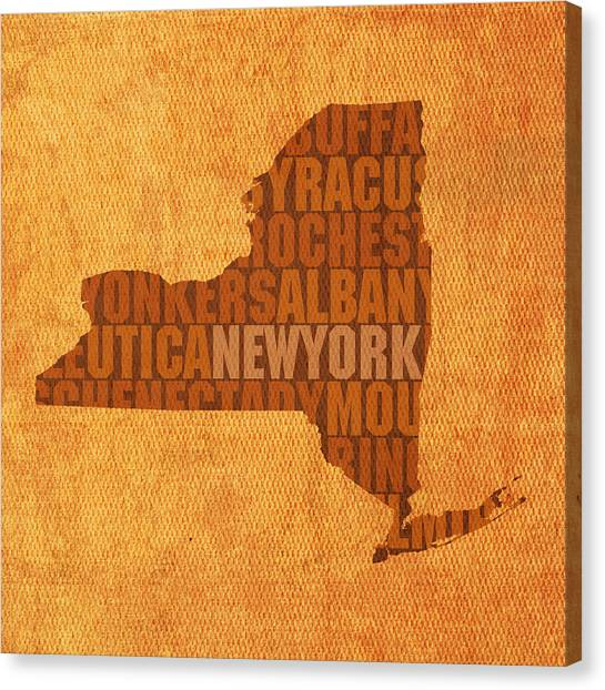 Central Park Canvas Print - New York Word Art State Map On Canvas by Design Turnpike