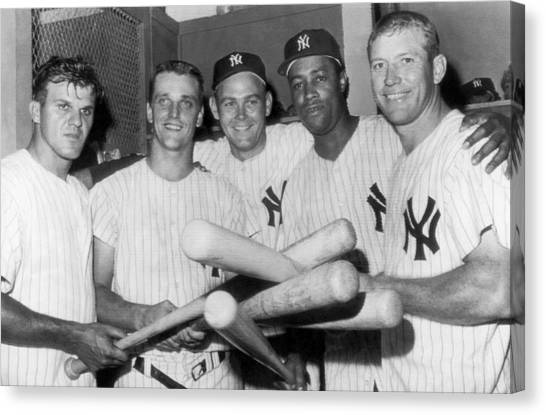 Baseball Players Canvas Print - New York Yankee Sluggers by Underwood Archives
