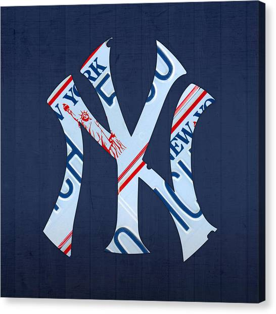 New York Yankees Canvas Print - New York Yankees Baseball Team Vintage Logo Recycled Ny License Plate Art by Design Turnpike