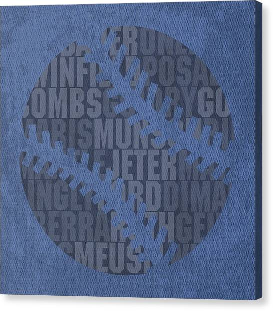 New York Yankees Canvas Print - New York Yankees Baseball Typography Famous Player Names On Canvas by Design Turnpike