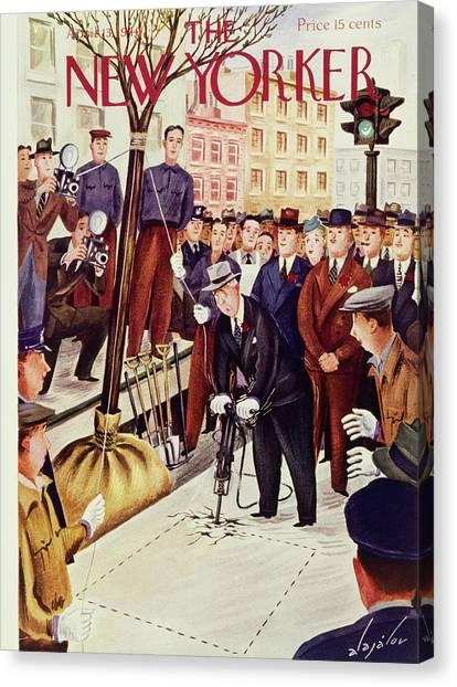 Jackhammers Canvas Print - New Yorker April 13 1940 by Constantin Alajalov