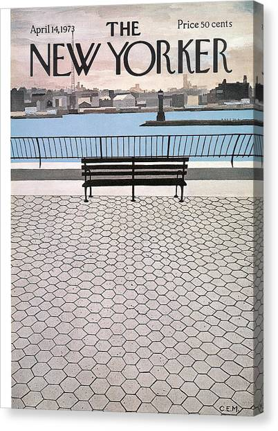 Benches Canvas Print - New Yorker April 14th, 1973 by Charles E Martin