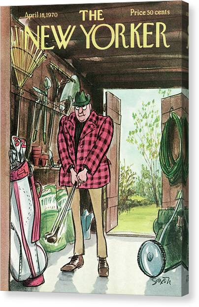 Hole In One Canvas Print - New Yorker April 18th, 1970 by Charles Saxon