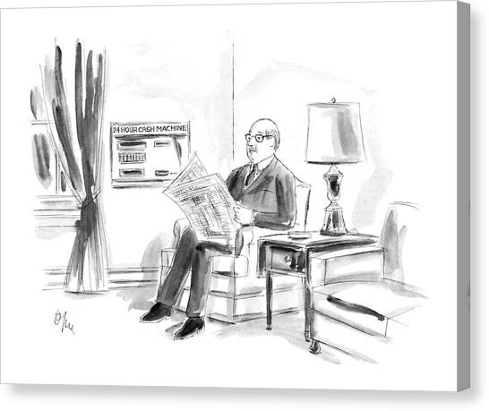 Reading The Paper Canvas Print - New Yorker April 21st, 1986 by Everett Opie