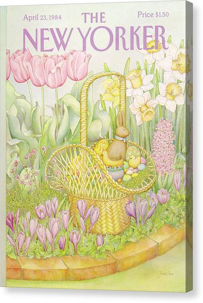 Easter Baskets Canvas Print - New Yorker April 23rd, 1984 by Jenni Oliver