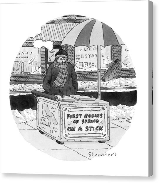 Fast Food Canvas Print - New Yorker April 4th, 1994 by Danny Shanahan