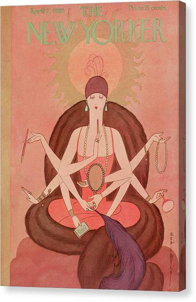 Buddha Canvas Print - New Yorker April 7th, 1928 by Rea Irvin