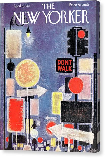 Street Signs Canvas Print - New Yorker April 8th, 1961 by Kenneth Mahood