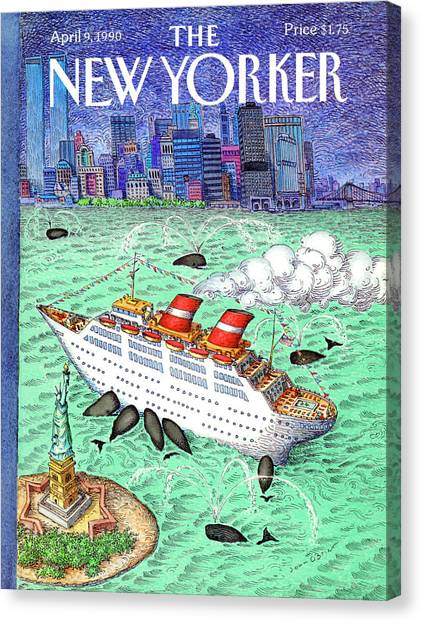 Cruise Ships Canvas Print - New Yorker April 9th, 1990 by John O'Brien