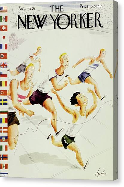 Finish Line Canvas Print - New Yorker August 1 1936 by Constantin Alajalov