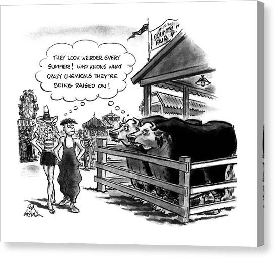 Cow Farms Canvas Print - New Yorker August 10th, 1992 by Ed Fisher