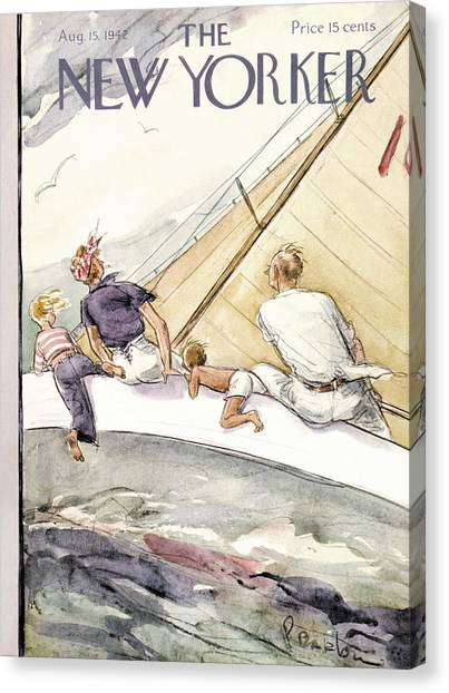 Sailboats Canvas Print - New Yorker August 15th, 1942 by Perry Barlow