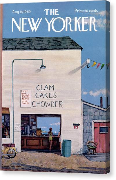 Clams Canvas Print - New Yorker August 16th, 1969 by Albert Hubbell